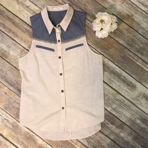 Lush sleeveless button down size Medium